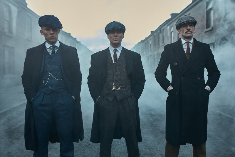 Actors from Peaky Blinders on street