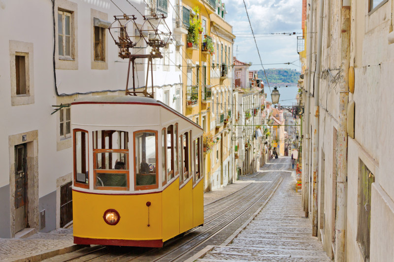 tram in the streets of Lisbon, portugal