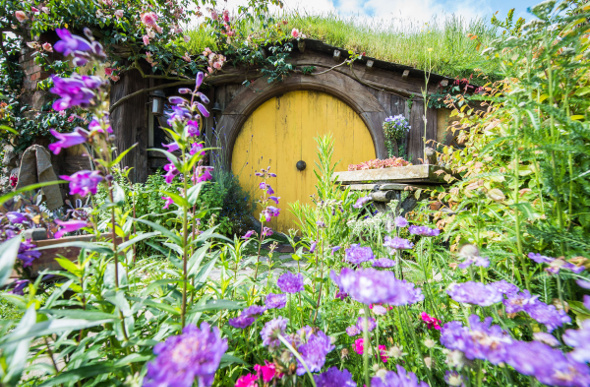 A hobbit hole behind all of the beautiful plants