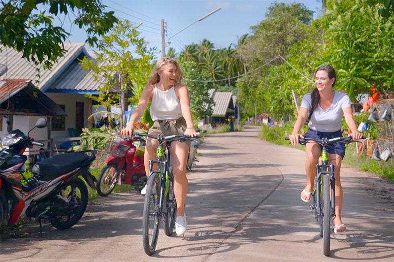 greer and rhiannon cycling in phuket