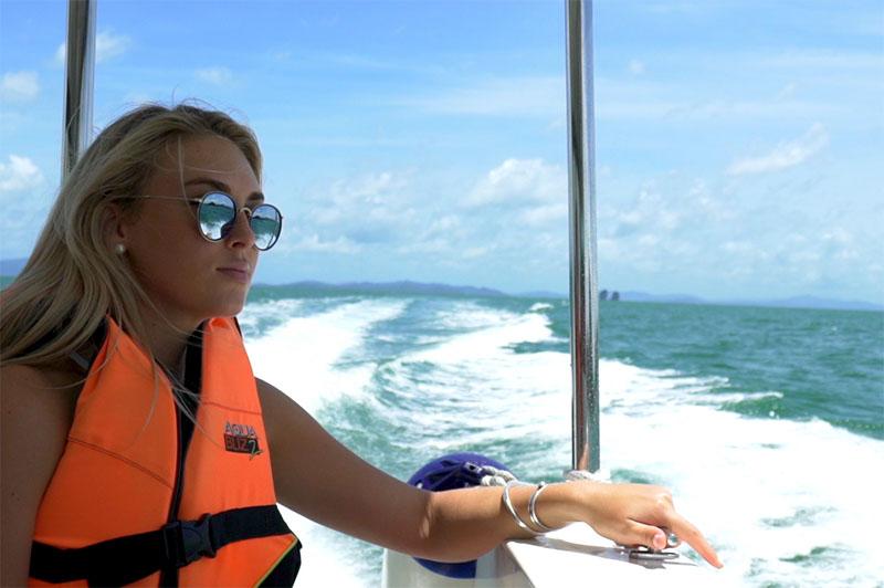 greer on the speedboat transfer to Santhiya Resort