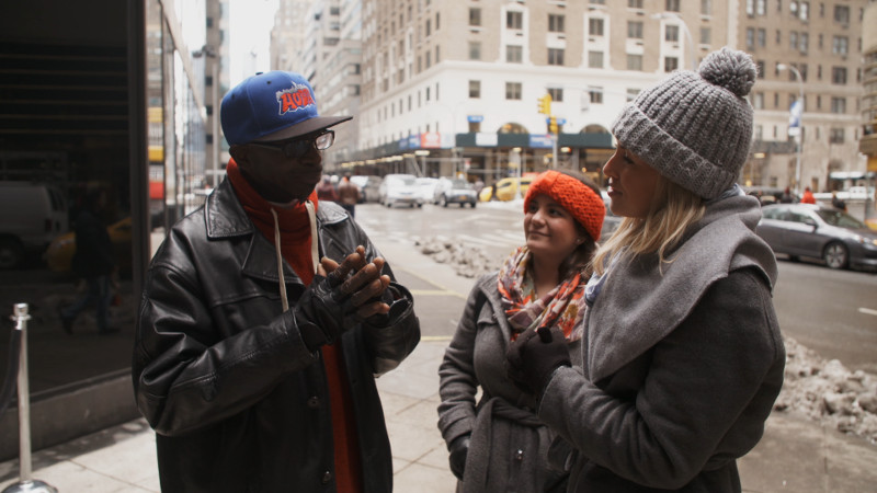 hip hop tour guide on street in new york