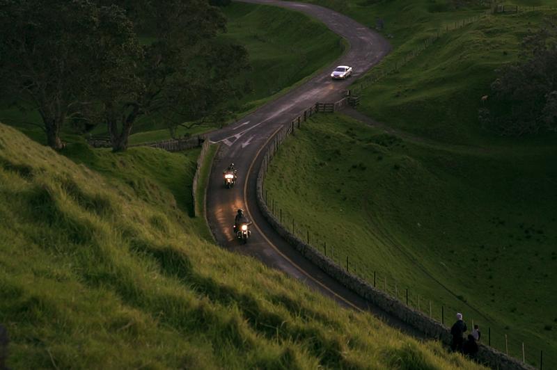 motorbikes on winding road