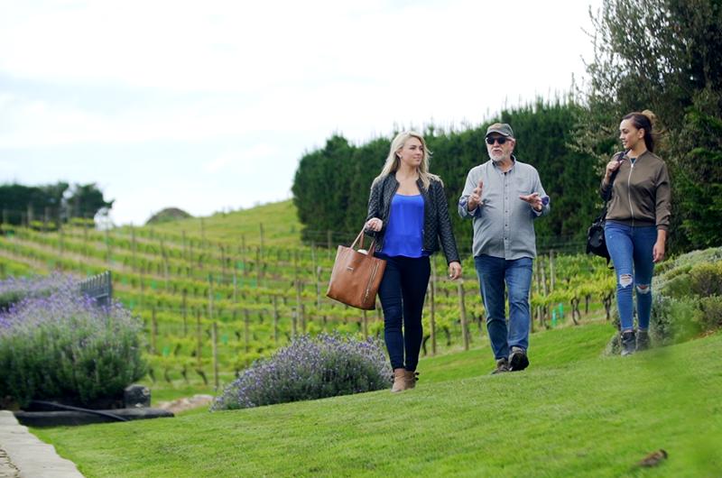 greer walking around mudbrick vineyard