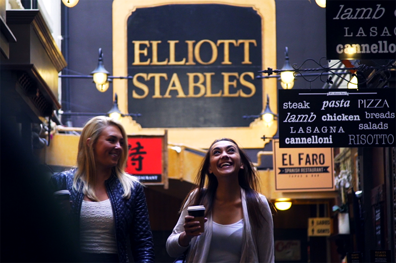 Greer and Danielle wandering food hotspot Elliott Stables