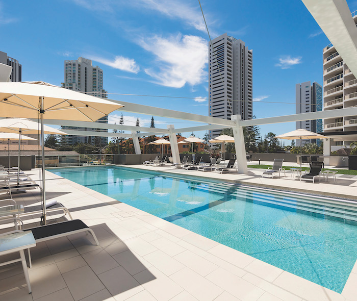 The pool at Avani Apartments in Broadbeach, a new Gold Coast hotel
