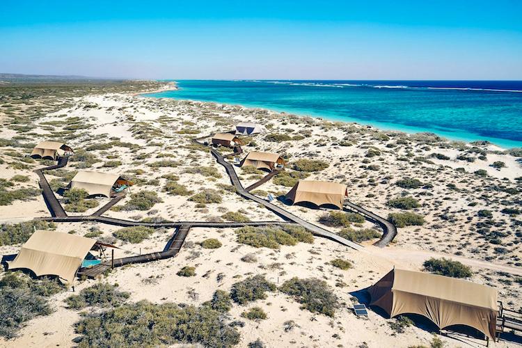 Aerial shot of the Sal Salis luxury beach campsite by ©Aquabumps