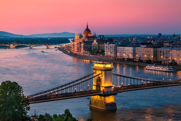 sunset over central european city