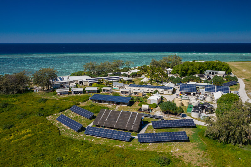 The solar panels that power Lady Elliot Island. Photo: Ben Di courtesy of Lady Elliot Island Resort