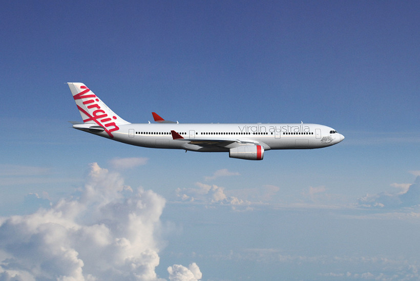 virgin plane in sky