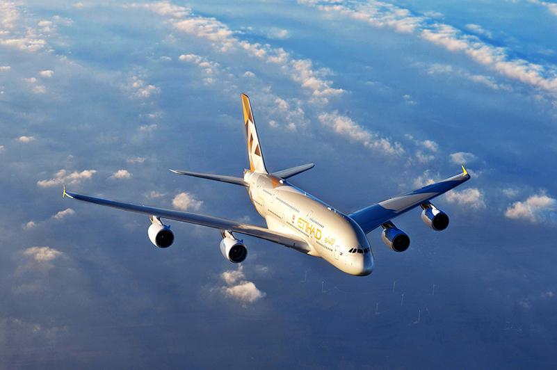 Etihad Airways A380 in the air