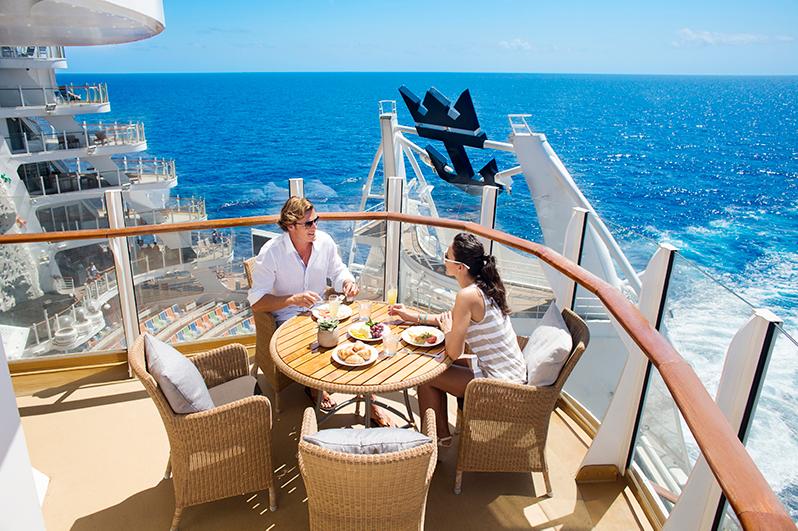 Breakfast on deck on cruise ship