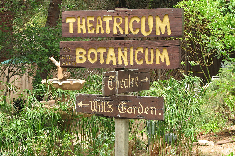 Sign for Will Geer's Theatricum Botanicum outdoor theatre