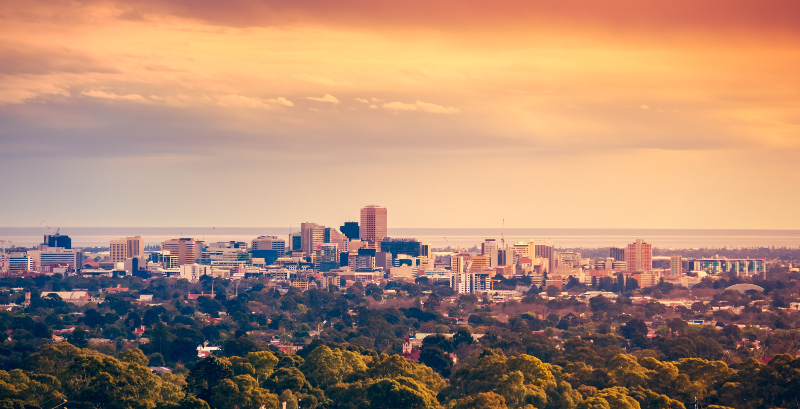 Adelaide at sunset, from the Adelaide Hills