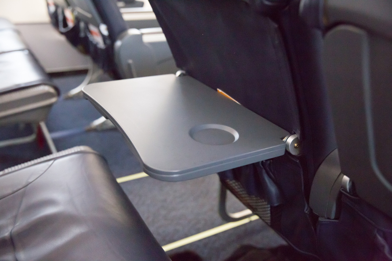 A tray table on an airplane