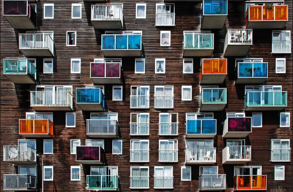 amsterdam facade with balconies