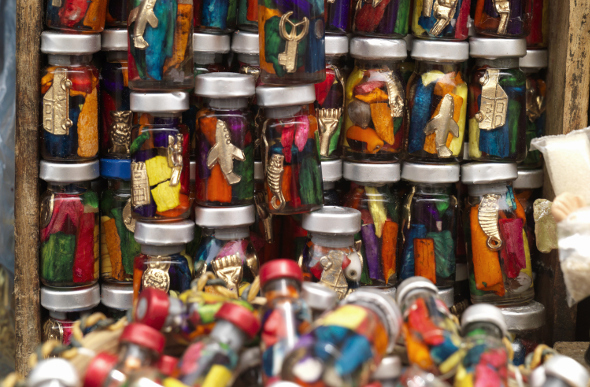 Amulet bottles at the Witches' Market in La Paz