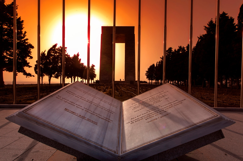 A memorial at Gallipoli at dawn.
