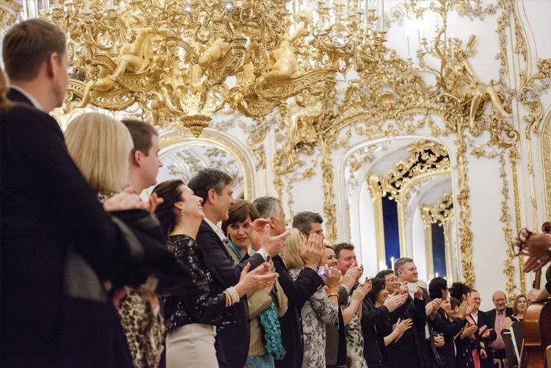 Guests at a reception in Liechtenstein City Palace.