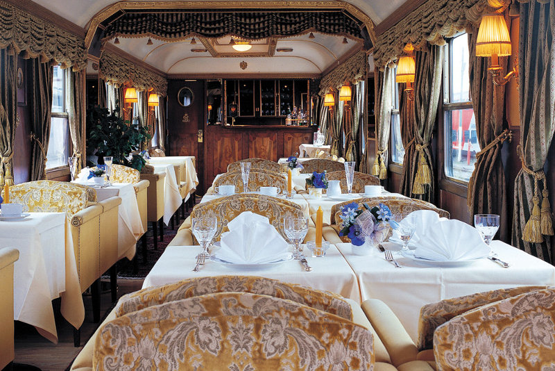 An interior shot of the Majestic Imperator luxury train.