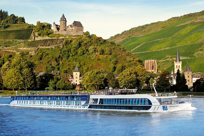 APT AmaReina river cruise ship on the Rhine River.