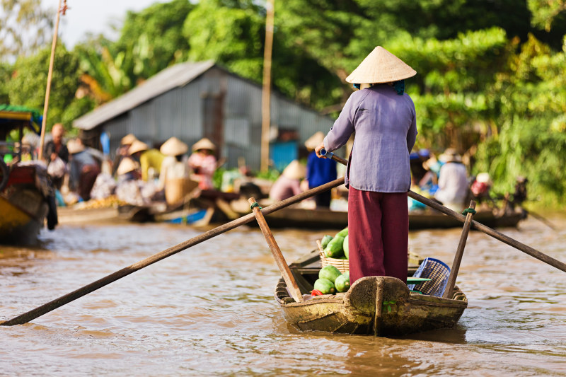 A Vietnamese woman rows a traditional boat down the Mekong River in Vietnam.