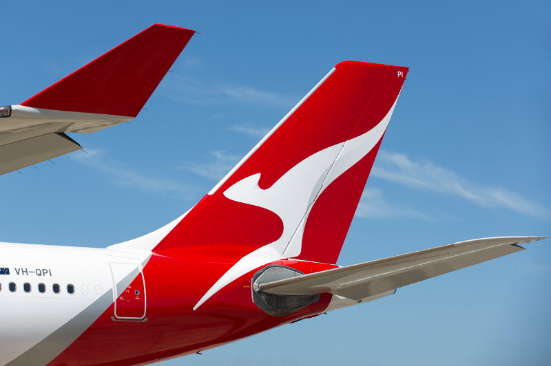 A close-up of the Flying Kangaroo on the tail of a Qantas plane.