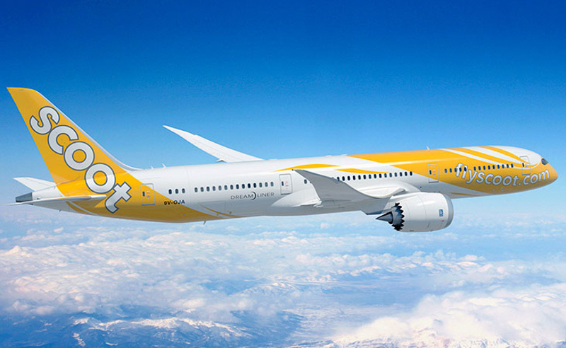 Scoot's yellow-liveried Boeing 787 Dreamliner.