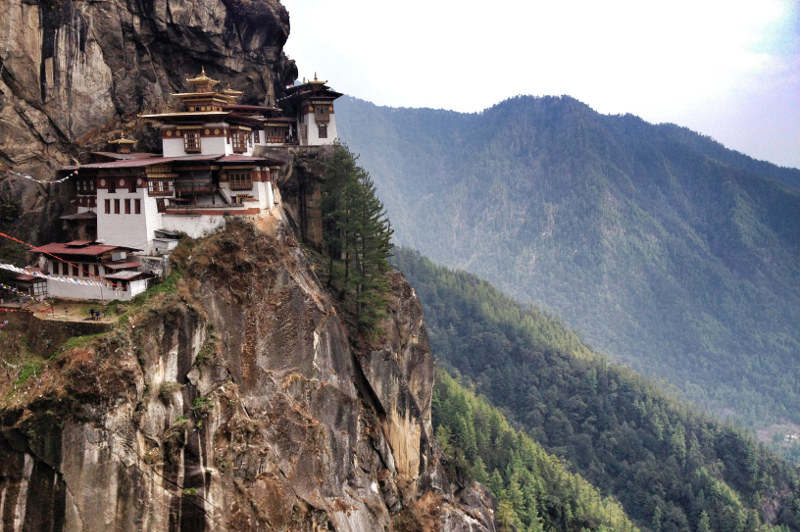 The Tiger's Nest monastery sits on a cliffside in Bhutan.