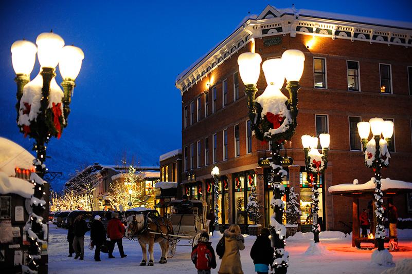Aspen town at Christmas