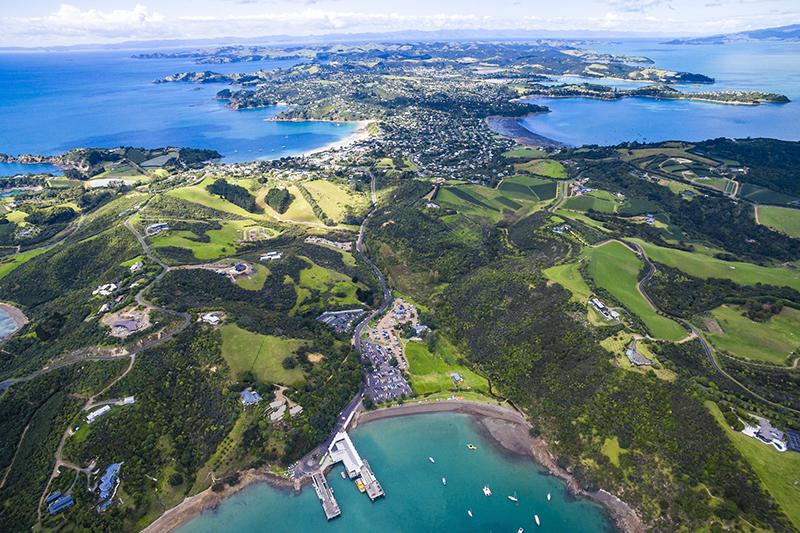 aerial shot of waiheke island