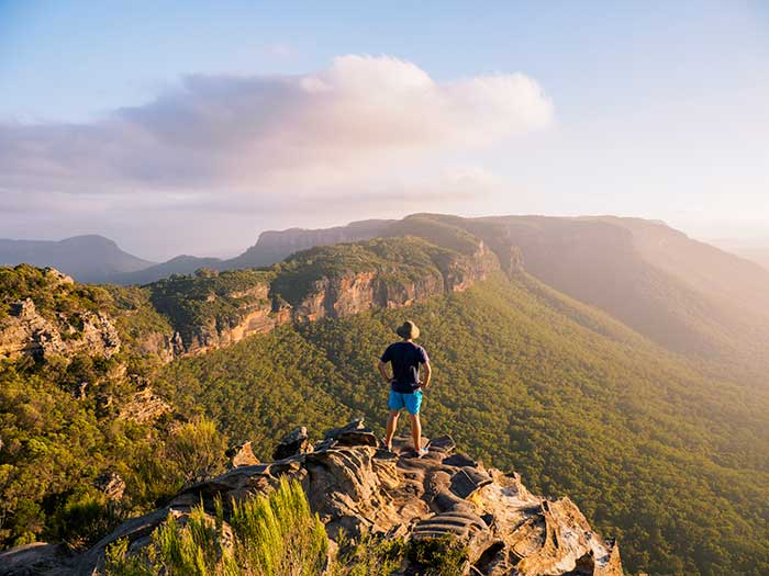 man hiking in blue mountains australia
