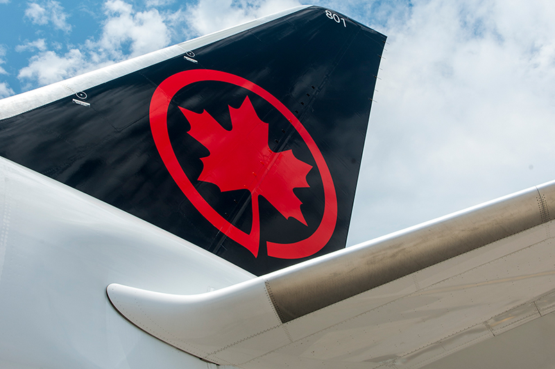 Tail of Air Canada Boeing 787-8 aircraft with new livery