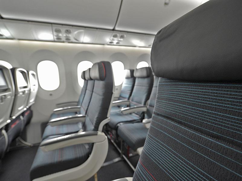 Close look at Economy seating on Air Canada's B787-8 aircraft