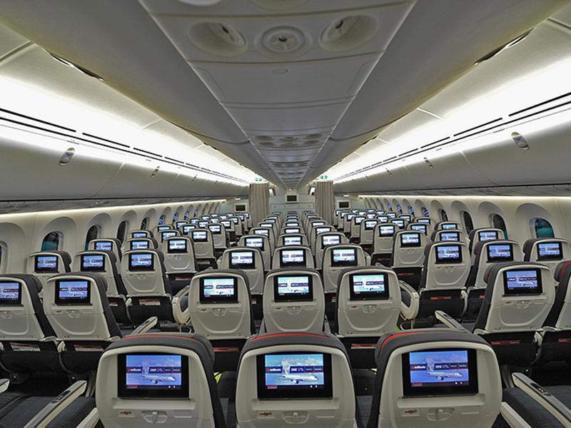 Economy cabin on board Air Canada's B787-8 aircraft