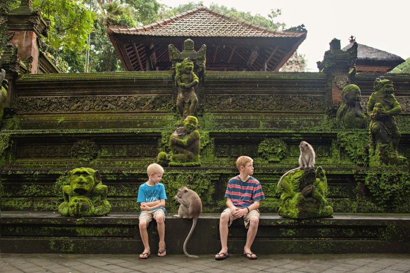 Two brothers sit with monkeys at a temple in Bali.