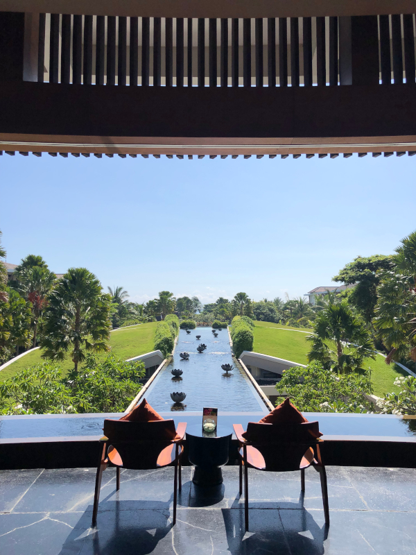Two chairs and the view of a man-made water feature at the Sofitel Nusa Dua