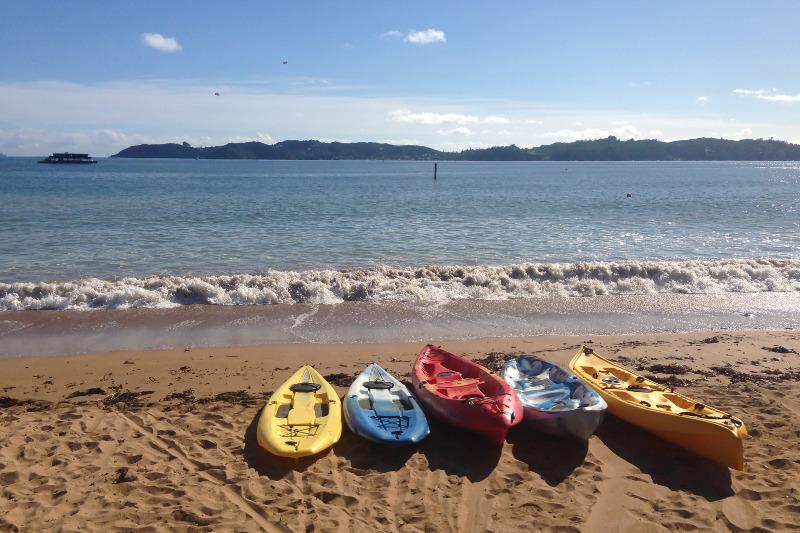 Kayaks sitting on a beach