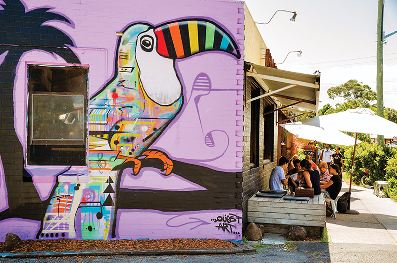 Bayleaf Cafe street art, Byron Bay