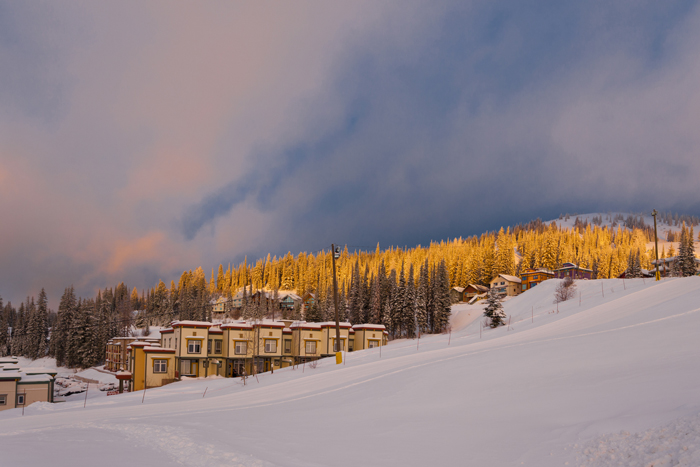 Silverstar Mountain Resort cabins covered in snow