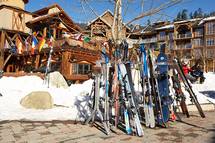 Ski parking at Whistler Blackcomb Resort.