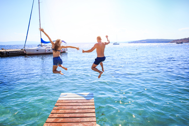 Jumping into water in Bulgaria.