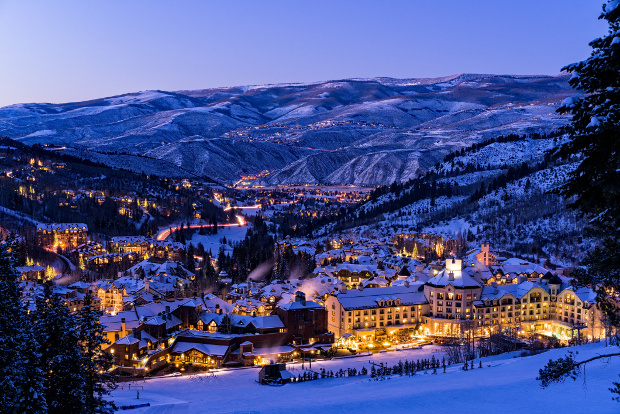 Beaver Creek Village at night