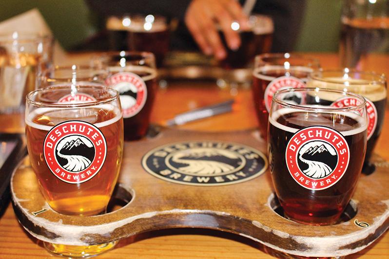 Beer flight at Deschutes Brewery, Portland