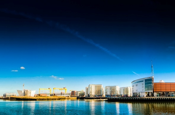view of titanic quarter in belfast from water