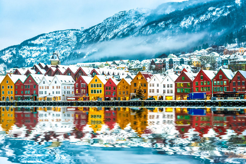 The colourful houses along Bergen's coast