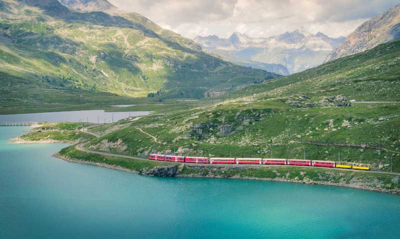The Bernina Express train travelling on the Bernina Pass. Image: Getty