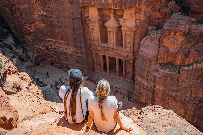 A couple views of the architectural ruins in Petra, Jordan