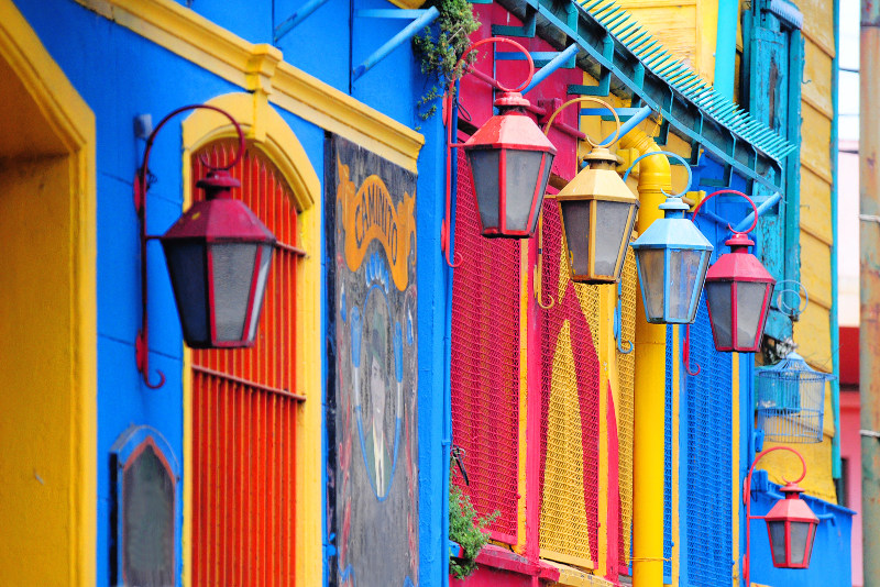 The facades of houses in La Boca