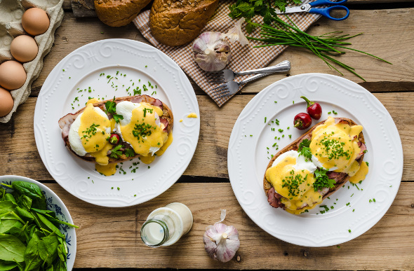 Eggs Benedict viewed from above.